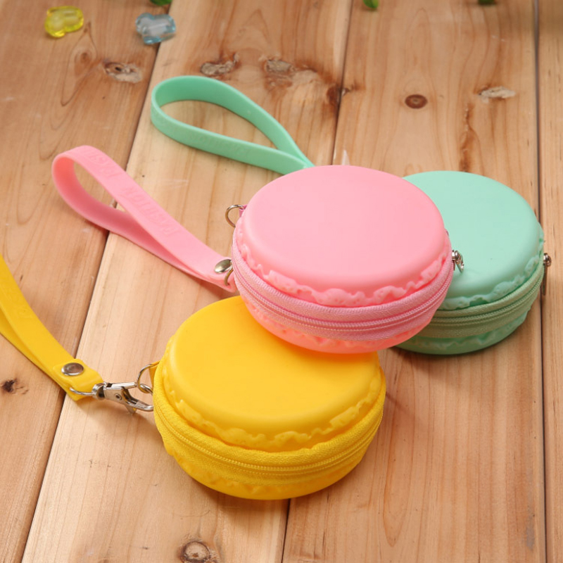200pcs/lot Women Girls Baby Cute Fashion Macaron Cake Shape Silicone Waterproof Coin Bag Pouch Purse Wallet Kawaii Purse