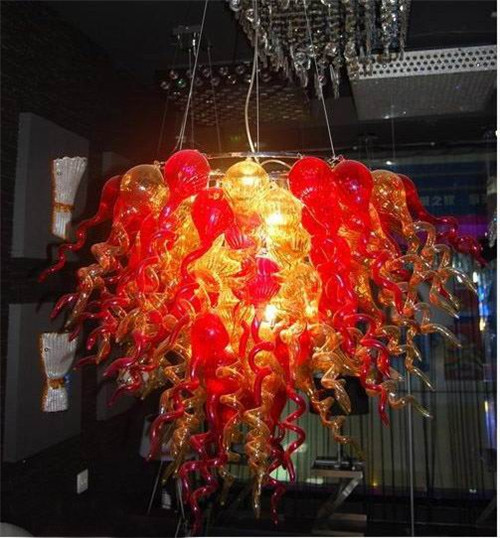 New Arrival Murano Glass Red and Amber Mini Chandelier Home Decorative Furniture