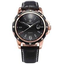 ORKINA Reloj Hombre Reloj del Movimiento de Japón Miyota Hombres Caja de Acero de Oro Rosa Correa de Cuero Del Relogio masculino Reloj