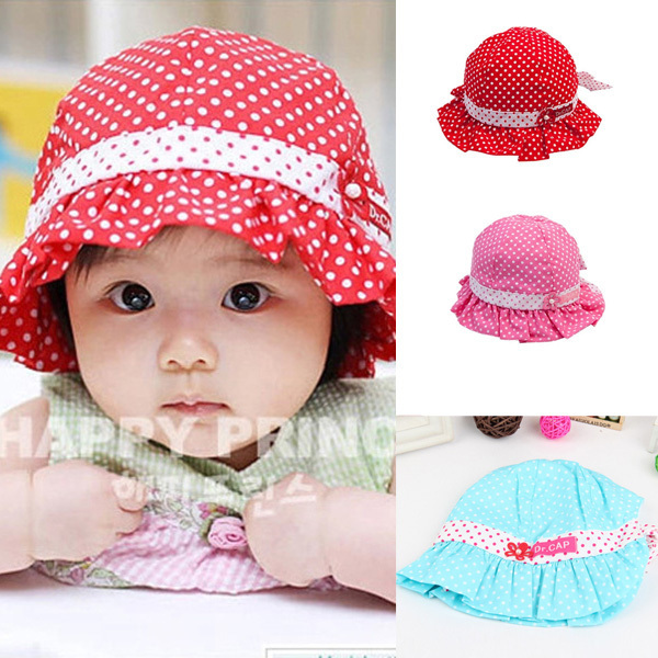 9bc2a14ebfb Kid Toddler Baby Girl Sun Hat Polka Dot Flower Bucket Cap Bowknot Pearl Hat  For Newborn