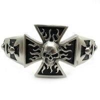 мужская тупая участки крест Плайя cheers браслет байкер браслет из нержавеющей стали мода серебро черный ювелирные изделия бесплатная доставка