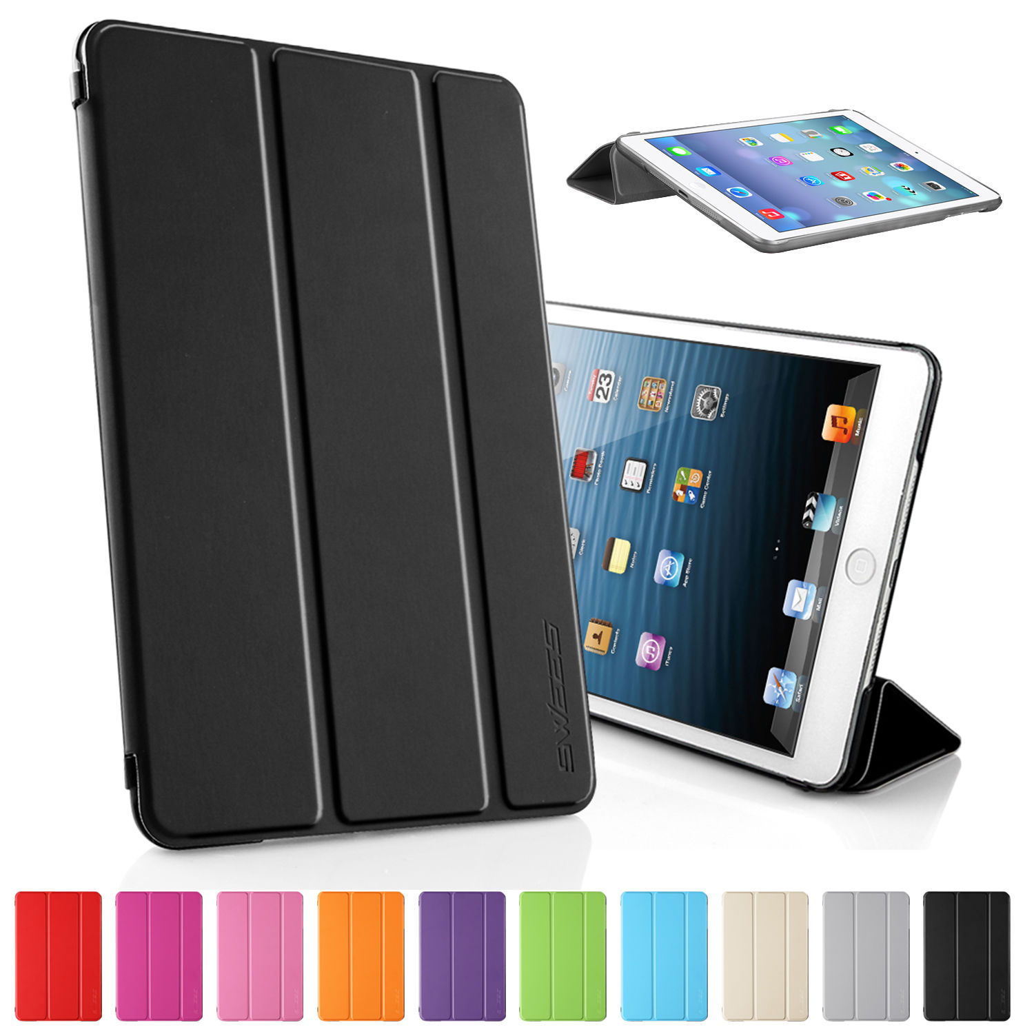 Flip Case For Apple iPad Mini 1/2/3 Tri-fold PU Leather Hybrid Ultra Slim Smart Tablet Cover PC Transparent Back  Retina Display for ipad mini4 cover high quality soft tpu rubber back case for ipad mini 4 silicone back cover semi transparent case shell skin