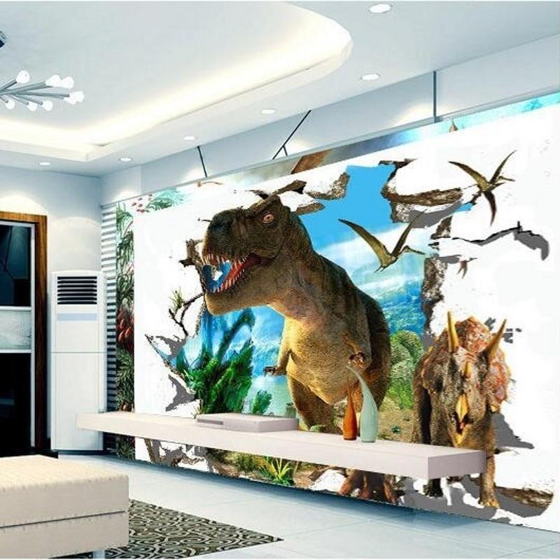 Beibehang 3d wallpaper custom mural dinosaurs background for Dinosaur mural wallpaper