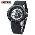 CURREN sports Quartz-watch orologio uomo white dial black silicone waterproof men's Quartz-watch calendar, with gift box 8143