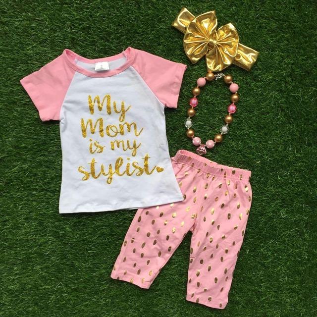 2016 meninas roupa dos miúdos do bebê terno verão 1 - 9 t ouro rosa curto crianças boutique outfit com correspondência headwear e colar jogo