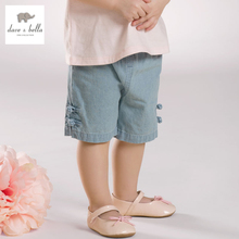 DB3490 dave bella summer baby girls jeans shorts infant trousers toddle pants girls jeans pants kids jeans children summer pants
