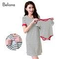Летом хлопка полосатой мама и детская одежда семьи соответствующие наряды свободного покроя грудное вскармливание платье уход одежда для беременных платья