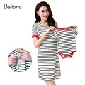 Summer Cotton Striped Mom and Baby Clothes Family Matching Outfits Casual Breastfeeding Dress Nursing Clothes Maternity Dresses