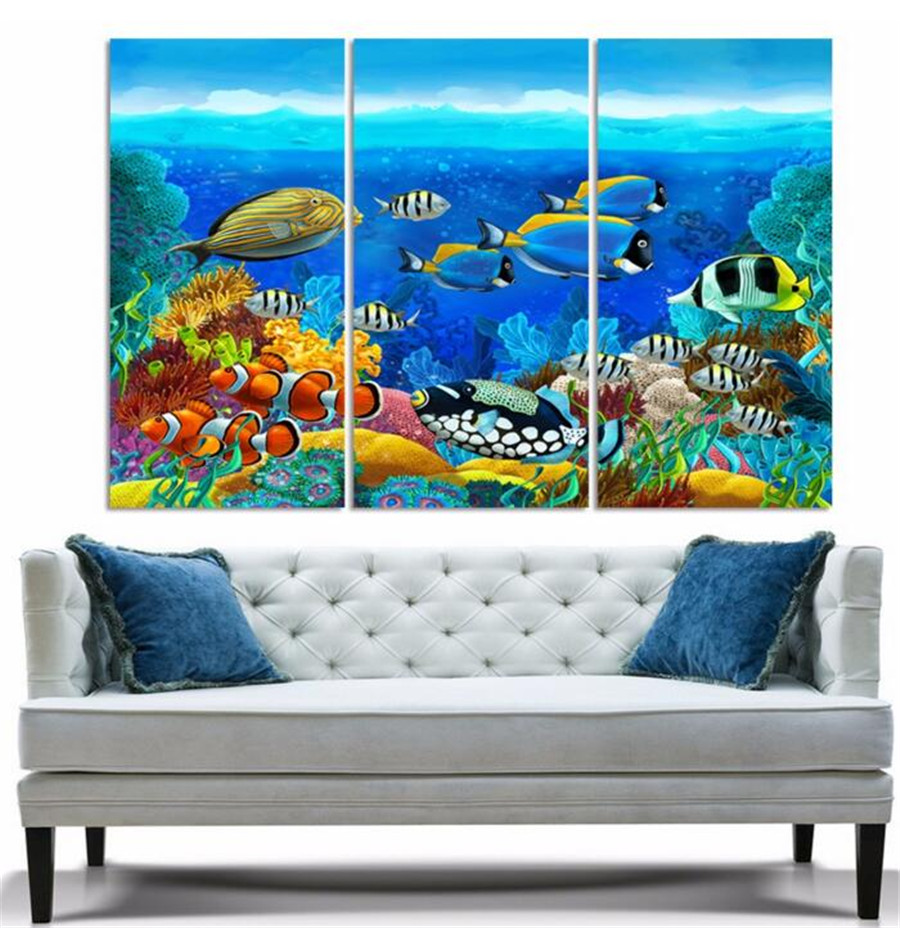2017 Real Sale Spray Painting Wholesale 3pcs Ocean Oil Painting Hd Image Picture On Canvas Home Decoration Decor No Frame Wall