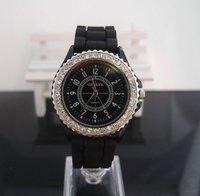 с14-дюймовый женщины кристалл до запястья часы аналоговый кварцевый силикон часы