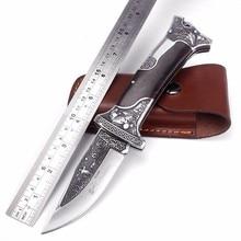 Sharp Handmade Tactical folding knife 440c blade ebony handle outdoor survival hunting knife floating sculpture pocket knife