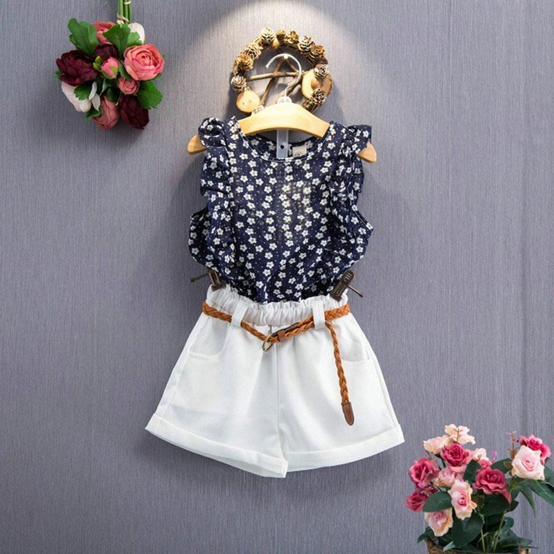 Chiffon Summer Toddler Kids Baby Girls Clothes Floral T-shirt Tops+Short Pants Outfits