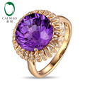 Free shipping 14KT/585 Yellow Gold 6.85ct Natural Amethyst 0.23ct Round Cut Diamond Engagement Gemstone Ring Jewelry