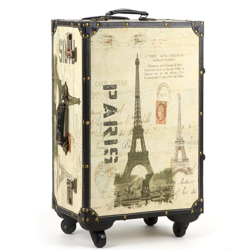 20,24,14 Inch Retro Trolley Case,Spinner wheel,PU leather,Eiffel Tower, waterproof, shock Travel Suitcase,Rolling Luggage bag vintage suitcase 20 26 pu leather travel suitcase scratch resistant rolling luggage bags suitcase with tsa lock