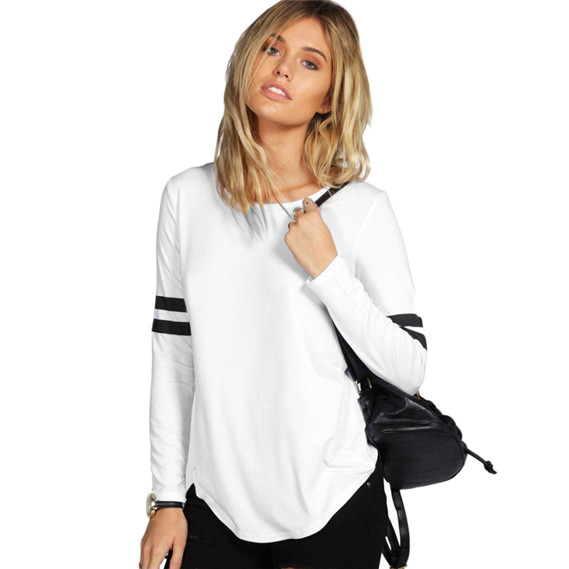 2016 Fall Women Casual Loose Tops Spell Color Long Sleeve T-shirt Black White Gray Size S-xl