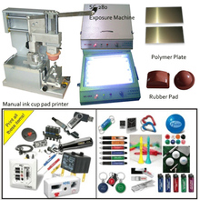 manual pad printing machine with close ink cup and exposure machine, polymer plate