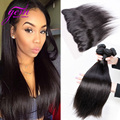 7A Peruvian Straight Hair Lace Frontal Closure With Bundles 4Bundles Deal Peruvian Virgin Hair Lace Frontal Size 13x4 Ear to Ear