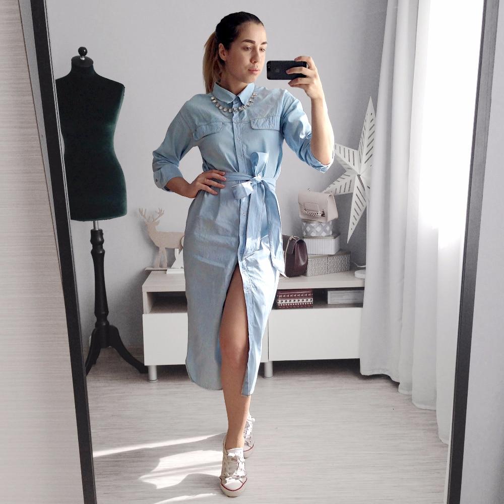 Длинное платье-рубашка из плотного хлопка с Алиэкспресс