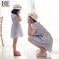 ОН Привет Наслаждаться мать дочь платья 2016 Семьи Соответствующие Наряды полосатый платье семья одежда мать и дочь одежда