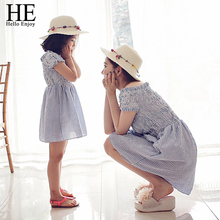 HE Hello Enjoy mother daughter dresses 2017 Family Matching Outfits striped dress family clothing mother and daughter clothes