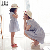 Hello Enjoy Mother Daughter Dresses Children Girl Fashion 2016 Striped Dress Holiday Dresses Kids Mother And