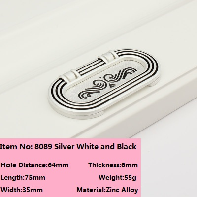 Hole CC 64mm Continental surface mounted handle pinch invisible silver white and black rose slotted dark handle 8089 зимняя шина continental contivikingcontact 6 225 55 r17 101t