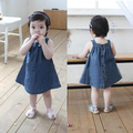 Baby Girls Toddlers Jean Denim Dresses Bow Straps Summer Sundress  Vestido With Cotton Blend