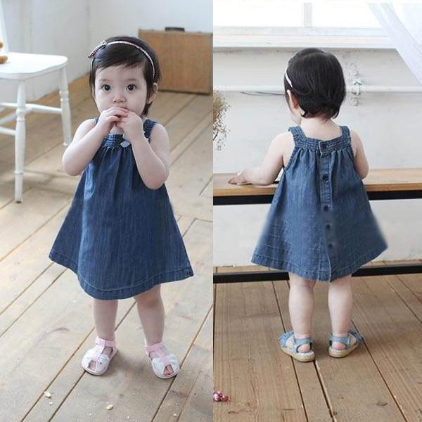 df3803266beb Baby Girls Toddlers Jean Denim Dresses Bow Straps Summer Sundress ...