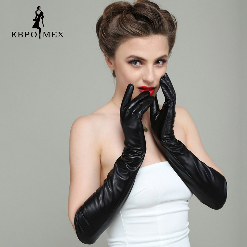 Special Offer Fashion New female leather <font><b>gloves</b></font>, Evening Party Longer Genuine Leather Women simplicity style Warm Long <font><b>Gloves</b></font>