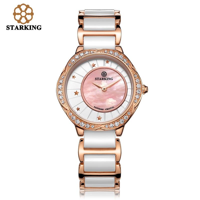 ФОТО STARKING Women Quartz Colorful Shell Dial Crystal Rhinestone Women Dress Fashion Rose Gold Watches Relogio Feminino BL00982
