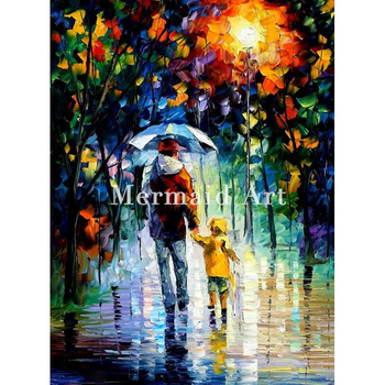 Hand Painted Oil Painting On Canvas Rainy Walk With Daddy Abstract Palette Knife Painting Living Room Wall Decor Artwork Poster