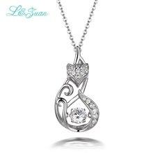 I&zuan 925 silver Woman  Necklaces Trendy Fox 1.1ct Natural zircon Move Stone Smart Series Fine Jewelry Dancing Pendants