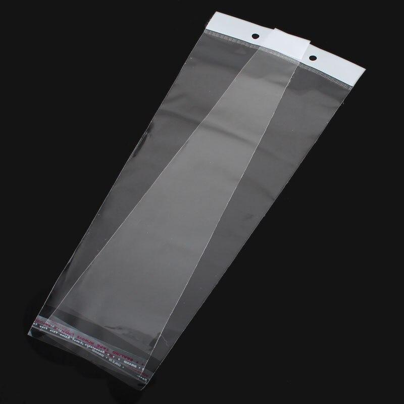 Doreen Box Plastic Self-Seal Bags (Usable Space 25.5cmx8cm) W/ Hang Hole 30cm x 8cm(11 6/8x3 1/8), 100 PCs 2017 new