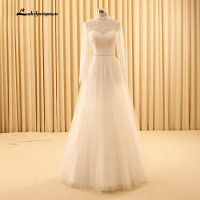 Elegant Long Sleeve Wedding Dresses High Neck Floor Length Bridal Gowns Vestido De Noiva Wedding Dresses