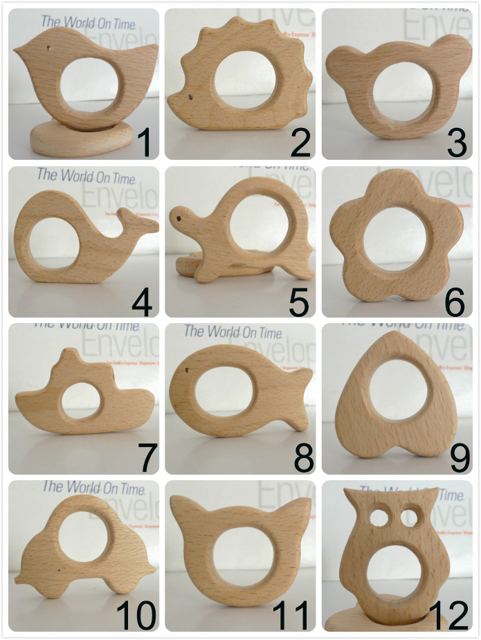 210PCS MIX Natural Newborn Beech Wooden Teether Toys