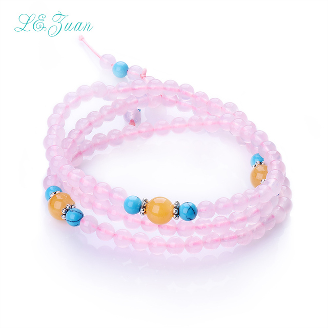 Fashion Fine jewelry Natural Pink Rose Quartz Trendy Round Multilayer Design Bracelet Jewelry For Women Party Gift