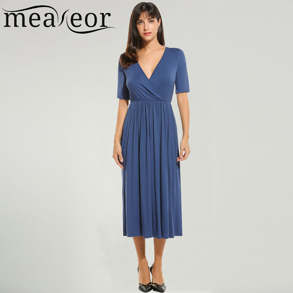 Meaneor Dress Women Spring Summer Autumn New V Neck Mid Calf Length