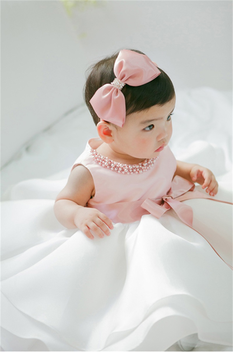 2017 New Baby Princess Dress Elegant Dress Pink and White