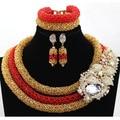 Роскошные Нигерийские Свадебные Бусы Комплект Ювелирных Изделий Красный и Золотой Африканской Традиционной Церемонии Комплект Ювелирных Изделий Бесплатная доставка WA954