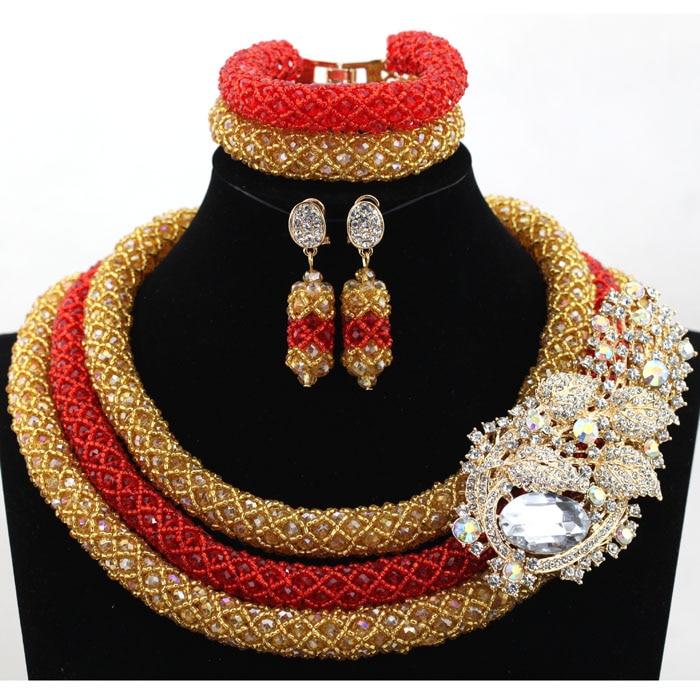 Luxury Nigerian Wedding Bridal Beads Jewelry Set Red and Gold ...