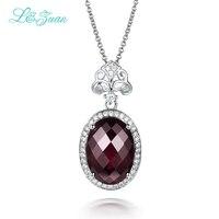l&zuan 925 Silver Garnet Woman Pendant Necklace Classic 8.35ct Rose Purple Gemstones Fine Jewelry Gift Sweater Chain