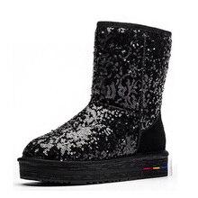 Bottes d'hiver 2016 glitter de mode cheville bottes de neige chaude en peluche cheville bottes chaussures femmes