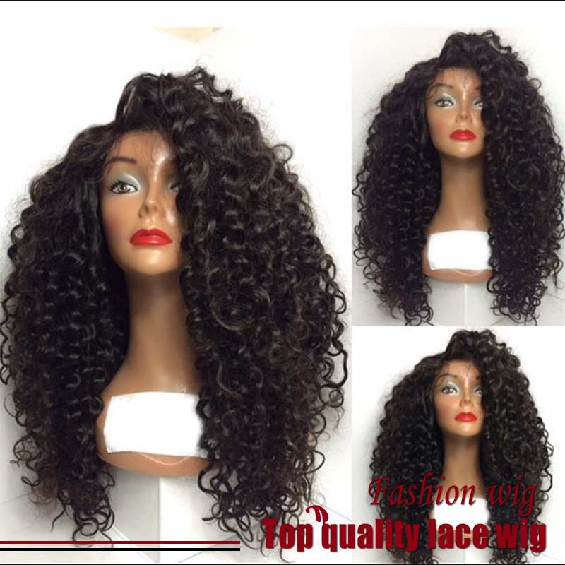 Cheap Sale Fiber Kinky Curly Wigs Synthetic Lace Front Wigs Curly Wigs  Boncy Glueless Heat Resistant Hair Wigs Fast Shipping 1f286aba4e23