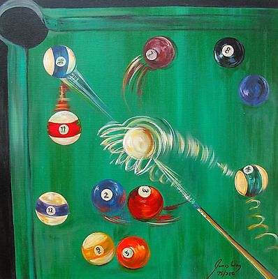 James Wing Hand Paints On Canvas Green Billiards Pool Table Oil - Pool table painting