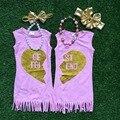 2 pieces set Summer dress pink best friend dress girls sister dress 1-9t party dress baby kids wear clothes with accessories set
