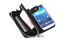 S4 Case For  Samsung Galaxy S4 Case Genuine Leather Wallet Zipper Case Magnetic Flip Cover  –Black