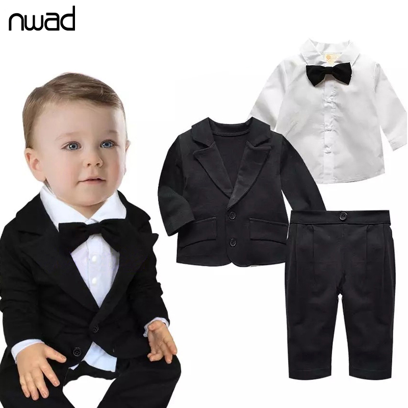 2016 Toddler Baby Boy Gentleman Clothing Set Bow Ties Formal Clothing Suit For Baby Kids Children Birthday Party Costumes FF023