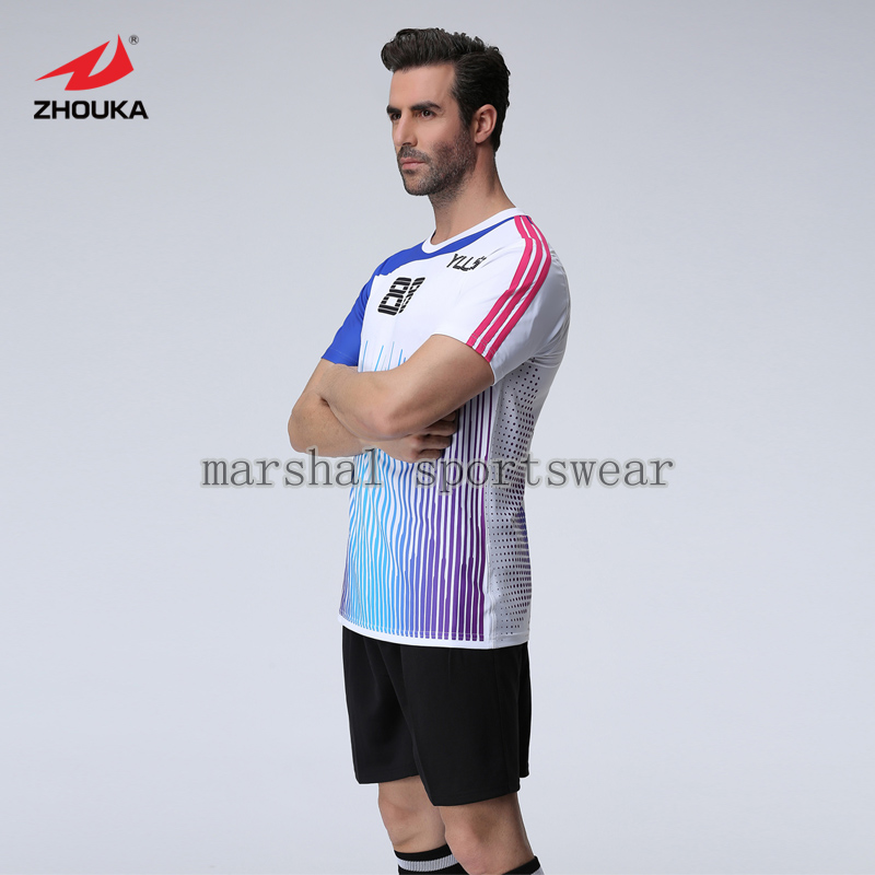 100%polyester,top quality,fully sublimation custom soccer jersey,MOQ 5pcs,any design can be customized lastest design polyester dry fit oem soccer jersey any color stripes design purple free shipping full sublimation print