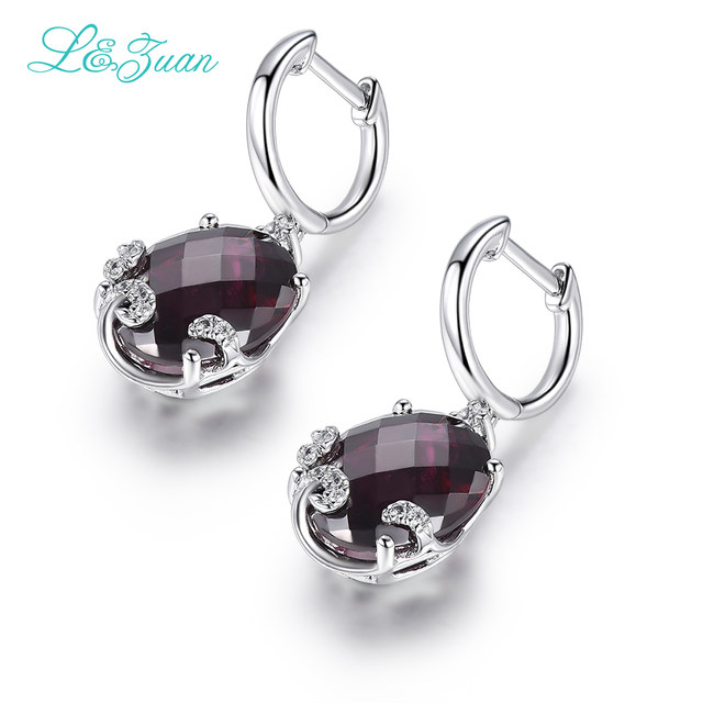 6A Garnet Woman S925 Silver Drop Earrings Trendy Round 10 45ct Natural  Gemstones Hot Sale L&zuan Fine Jewelry Party Gift-in Earrings from Jewelry  &