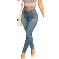 Women Adult Light Blue Classic High Waist Skinny Jeans High Elastic Slim Denim Pencil Jean Pantalon Taille Haute Femme SA78614